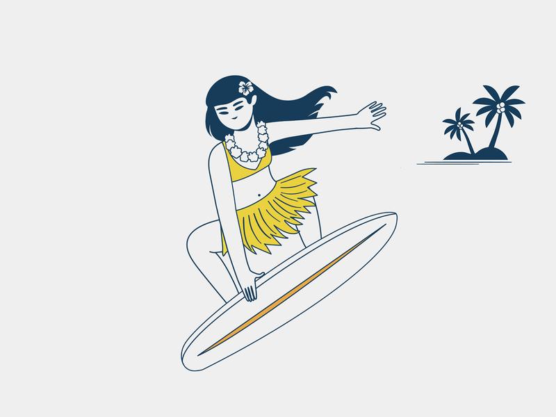 It's a Small World kids world vector illustration girl surf happy beach summer hawaii