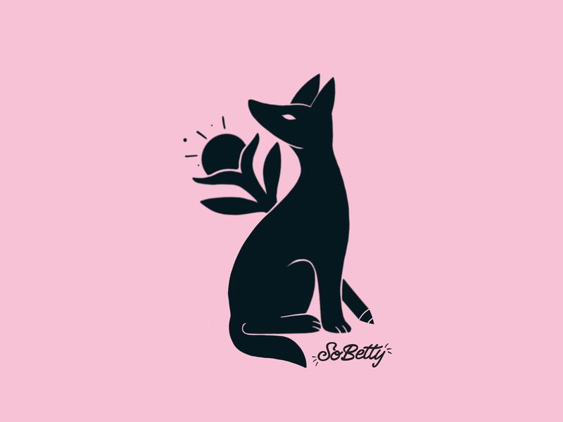 SoBetty design happy pinky black creativity negative space dog pink icon symbol illustration
