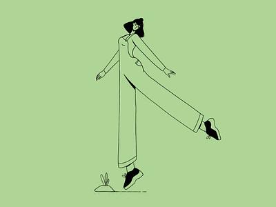 She got the sunshine in her pocket woman joy dance minimalist flat illustration illustraion girl happy