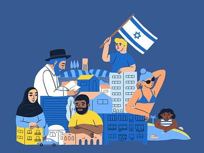 Editorial illustration for Liberal magazine magazine society editorial identity israel illustration