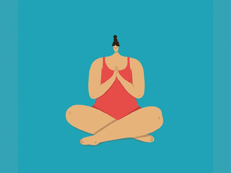 Yoga Girl being girl flat illustartion namaste peaceful woman mindful yoga