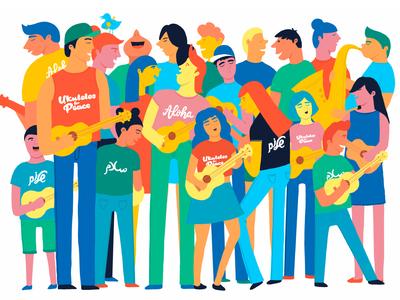 Ukuleles for Peace together coexist peace band ukulele teens illustraion music