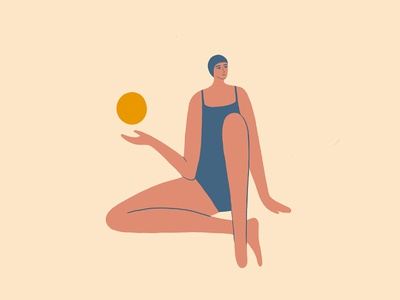 Beach Swimmer sun fun girl swim character design summer beach