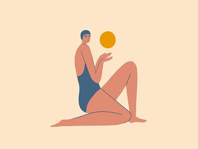 Beach swimmer 2 bathing suit summer happy fun girl swim sun beach