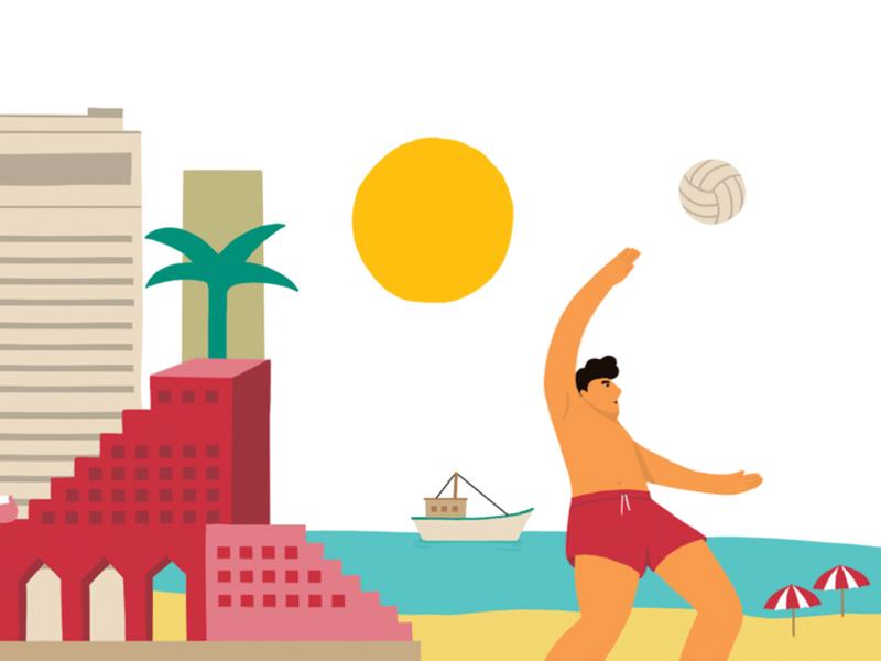 Tel Aviv tlv fun tel aviv city explore travel vactaion beach volleyball summer illustration