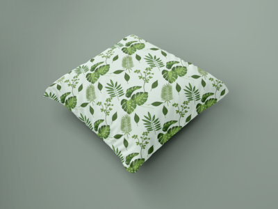 Tropical seamless pattern design, pattern sample on pillows