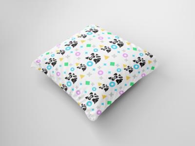 racon seamless pattern, seamless pattern sample on pillows