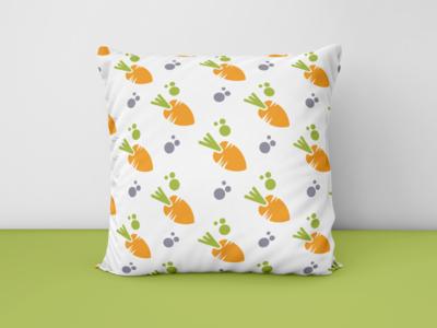 cute carrot seamless pattern, seamless pattern sample on pillows