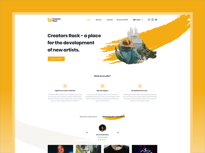 Creators Rack - Homepage design and Logo redesign webdesign artists icon typography ux logo ui minimal branding website design