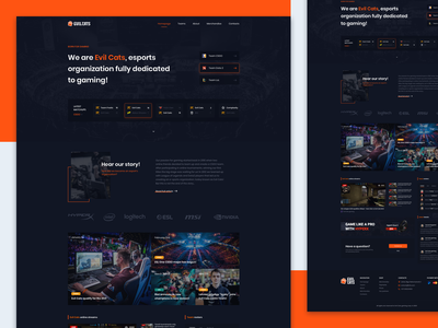 E-sports organisation homepage gaming esports minimal logo typography website design ux icon webdesign ui branding website design