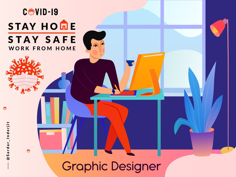 Stay at home colorful artist design art remote working charcter design creative artwork graphic illustraion home