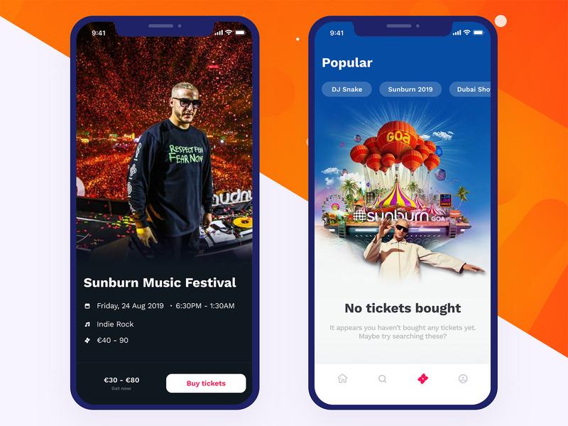 Sunburn Music Festival App Design poster art dj snake promotional design ticket booking music app sunburn uiux iphone app ios app mobile app