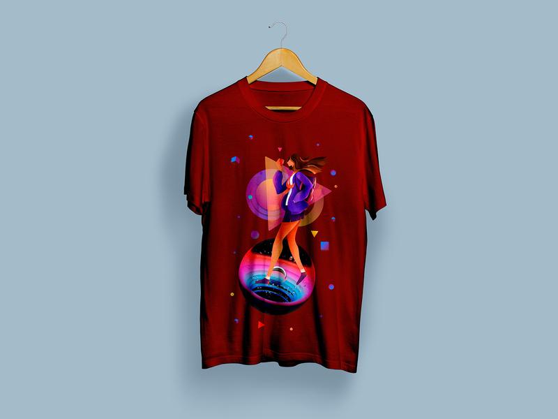 Walk in Space T-Shirt Design mockup vector space t-shirt design graphic illustration typography art direction design