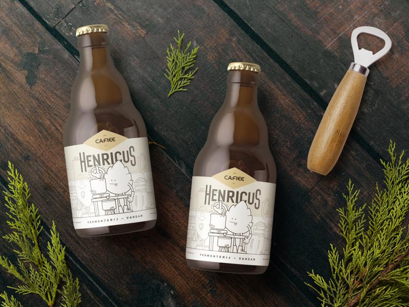 Cafiee Beer Packaging Design mockup illustration artwork beer label package design bottle label typography graphic design