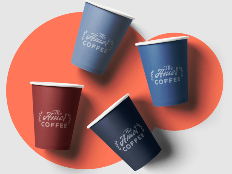 Amer Coffee Cup Label Design simplicity colorful mockup psd packaging design coffee cup logo branding graphic design