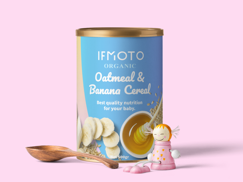 IFMOTO Organic Oatmeal & Banana Cereal Packaging Design vector clean typography fruit illustration product design logo label design food and drink packaging design design graphic box art