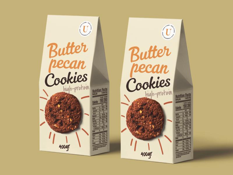 Ukio Butter Pecan Cookies Packaging creativity typography mockup design package cookies product packaging design business graphic design