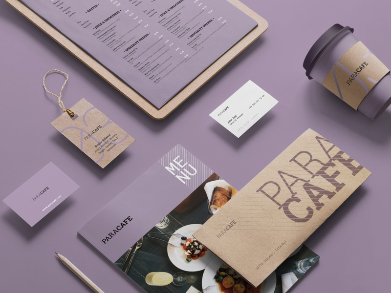PARACAFE Branding & Menu Design printmaking brand cup coffee mockup design menu branding typography design graphic