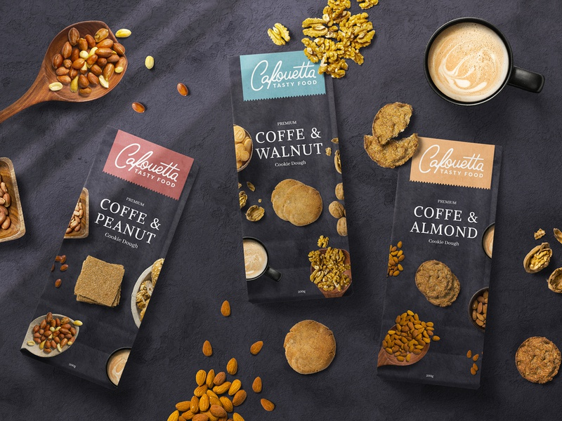 Cafouetta Cookie Dough Packaging Design retouching mockup presentation design paper pauch foods print design package design illustration typography graphic design