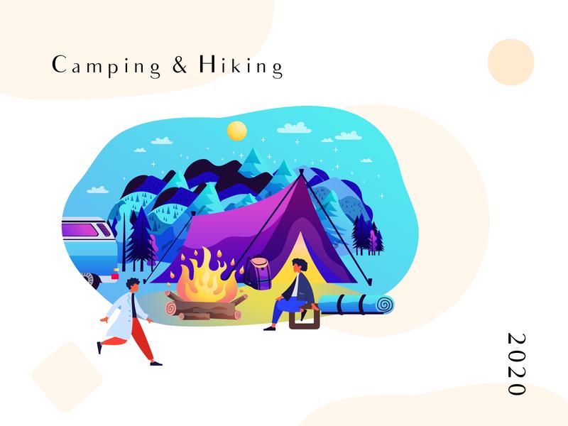 Camping Hiking 2020 2020 adventure challange traveling characterdesign hiking camping artist art illustration