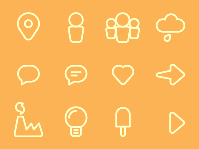 Rounded icons set  icon icons set yellow free pin lamp heart group cloud rainy speech factory