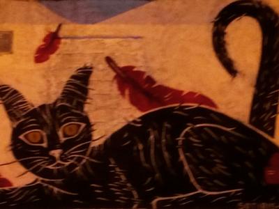 Μιά γάτα του δρόμου - A street cat αθήνα φωτογραφία τοιχογραφία τέχνη δρόμου σκίτσο σχέδιο athens photography photo retouching urban art street art graffiti wall design graphic design illustration storytelling