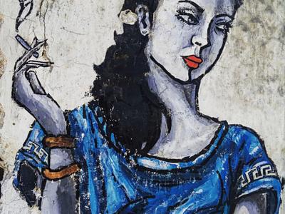 Η Ελληνίδα - The Greek woman αθήνα φωτογραφία τοιχογραφία τέχνη δρόμου σχέδιο athens photography photo retouching urban art street art graffiti wall design graphic design illustration storytelling