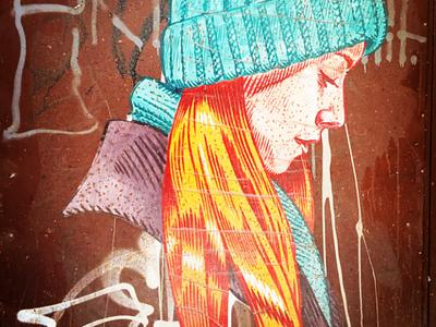Τό κορίτσι - The girl αθήνα φωτογραφία τοιχογραφία τέχνη δρόμου σχέδιο athens photography photo retouching urban art street art graffiti wall design graphic design illustration storytelling
