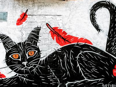 Μιά γάτα τού δρόμου - A street cat αθήνα φωτογραφία τοιχογραφία τέχνη δρόμου σχέδιο athens photography photo retouching creative design urban art street art graffiti wall design graphic design illustration storytelling