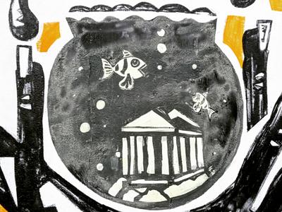 Η γιάλα με τά ψάρια - The aquarium αθήνα φωτογραφία τοιχογραφία τέχνη δρόμου σχέδιο athens photography photo retouching urban art street art graffiti wall design graphic design illustration storytelling