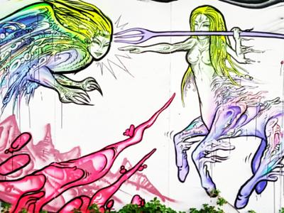 Ή μάχη τών Κενταύρων - The Centaurs battle αθήνα τέχνη δρόμου τοιχογραφία σχέδιο athens photography illustration photo retouching cms ux web design storytelling