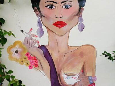 Η κυρία - The lady αθήνα φωτογραφία τοιχογραφία τέχνη δρόμου σχέδιο athens photography illustration photo retouching cms ux web design storytelling