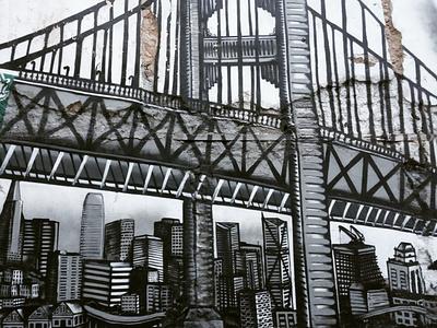 Η μεγαλούπολη - The big city τέχνη δρόμου urban art street art graffiti αθήνα wall design athens photography storytelling illustration τοιχογραφία σχέδιο φωτογραφία photo retouching