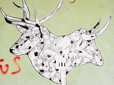 Ζώα με κέρατα - Animals with horns τέχνη δρόμου urban art street art graffiti athens photography storytelling illustration φωτογραφία wall design αθήνα τοιχογραφία σχέδιο photo retouching