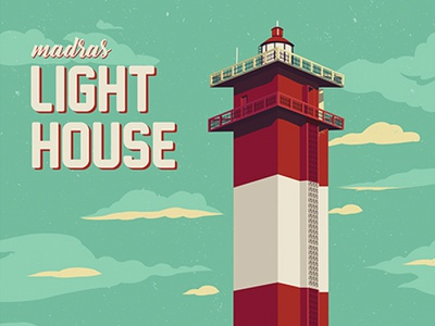Madras Lighthouse chennai chandru chandranravanan illustration