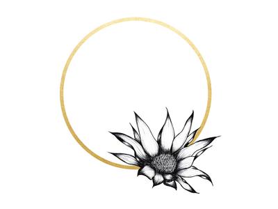 Flower Ring drawing fine art sketch florals flower gold illustration