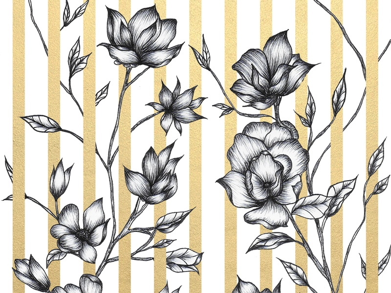 Vertical Flowers fine arts print print design black and white sketch nature gold fashion elegant illustration drawing challenge florals fine art drawing