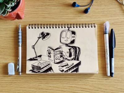 Leapfrog AI playbook artwork concept droid robot reading concept cover artwork cover playbook machine learning ai inking illustration sketch