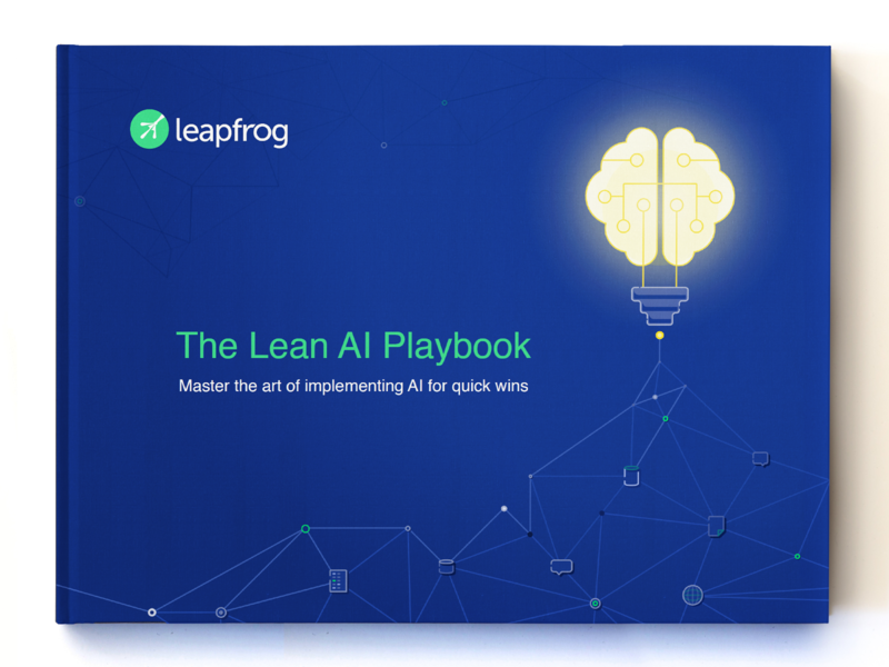 Leapfrog AI Playbook Design ebook playbook editorial frog illustration artificial intelligence machine learning ai book cover design graphic design