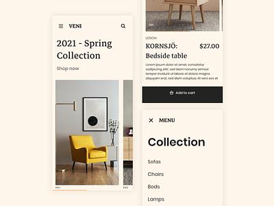 Furniture Marketplace - Mobile App branding minimal clothing shopping light marketplace website motion graphics app mobile ecommerce furniture shop ux ui vector flat design