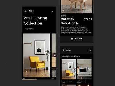 Furniture Marketplace - Mobile App (Dark Theme) night dark ecommerce marketplace application mobile app shopping shop clothing ux ui flat design