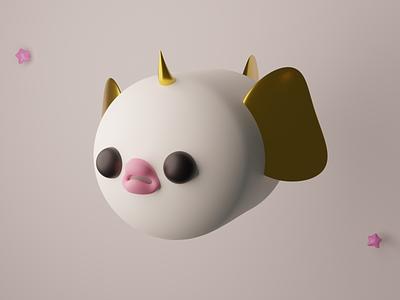 Xor, the flying fish-unicorn blender3d b3d designer character design illustration 3dmodel design 3dcharacter digital art character blender 3dart 3d