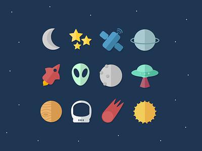 Space icon set flat illustration digital art vector 2d iconography webdesign affinity designer design uiux spaceship space illustration icons set uidesign ui icons