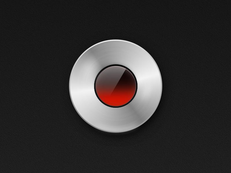 Recording... gradient depth glass aluminum skeuomorphism metal audio video red icon recording sketch