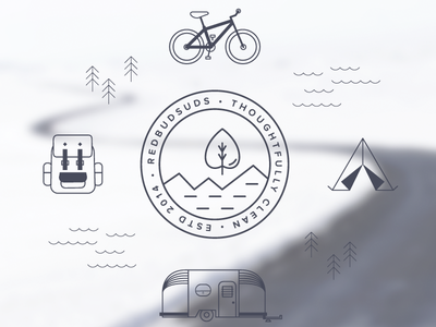 Redbudsuds | Final Logo and Icons flat design icons travel adventure graphic design graphic illustration identity branding