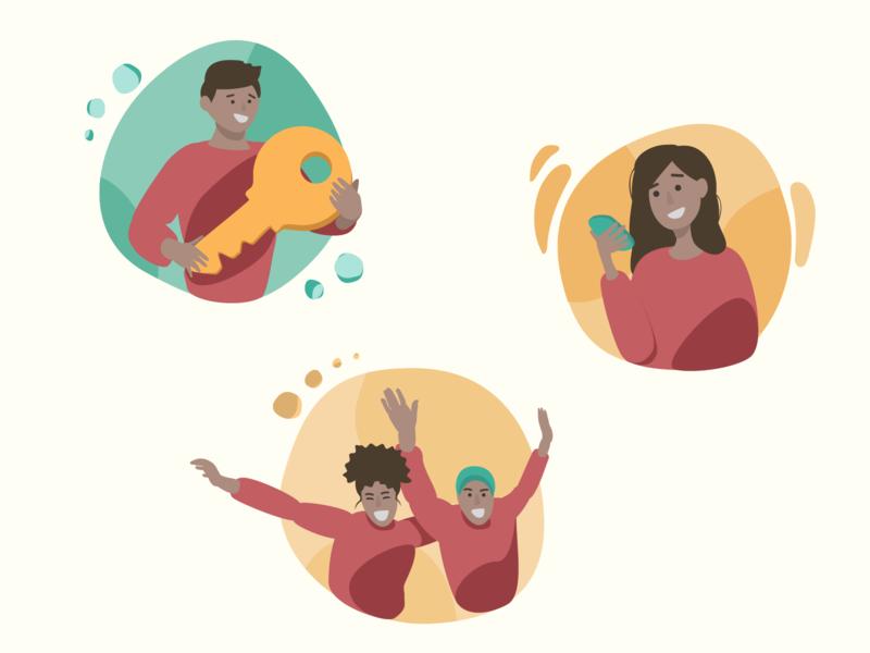 Illustraciones app success phone key ui cartoon vector illustration mexico
