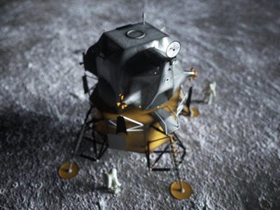 LNDR 01a / Daily 0288 octane render octane 3d c4d cinema 4d astronaut moon landing moon rocket spacex space