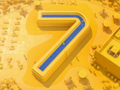 Pool 7 maxon octane cinema4d motion graphics c4d cinema 4d 3d minimal low poly water seven blue yellow pool swimming 7