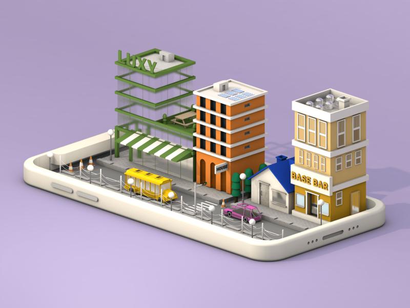 City card branding graphicdesign street house color 3d art illustration ui 3d design cinema4d c4d