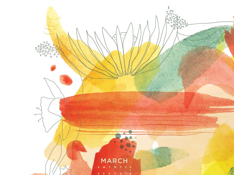March Wallpaper wallpaper flowers spring march illustration red yellow calendar